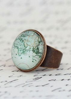 Statement Ring Map Ring Gift For Traveler