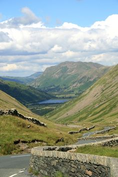 The long winding road leading fron the top of Kirkstone Pass towards Brotherswater.