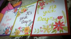 Floral print water color cards