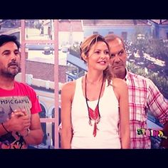 Jenny Balatsinou wearing Klaidra *magic arrow* beaded necklace at Proino Mou, Mega Tv 19june 2014 #klaidrajewelry #bohemian #designers #tv #proinomou #megatv @jennygrpins