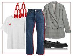 Un jean boyfriend avec un blazer cintré