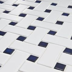 """Basket Weave 9-3/4"""" x 9-3/4"""" Porcelain Mosaic in White and Blue"""