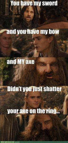 Legolas has a point I never realized. Lol go Legolas lol Jrr Tolkien, Martin Freeman, O Hobbit, Hobbit Funny, Funny Memes, Jokes, Hilarious, Silly Memes, Into The West