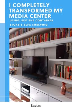 Want a media center upgrade? I used The Container Store's custom closet Elfa Decor line…and the results are stunning. #shelving #storage #organization Elfa Shelving, Shelving Systems, No Closet Solutions, Storage Solutions, Ikea Drawers, Floating Cabinets, Modular Design, Container Store, Drawer Fronts