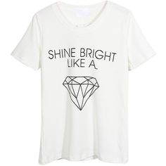 White Shine Diamond Print Short Sleeve T-shirt (€22) ❤ liked on Polyvore featuring tops, t-shirts, shirts, white, round neck t shirt, cotton blend t shirt, white short sleeve shirt, print t shirts and short sleeve tee