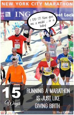 If you think of the pain, the blood, sweat and tears, then you immediately think YES! But you may be surprised by some of these ways running a marathon is just like giving birth. (And a few that prove it's totally different: like your medal doesn't try to nurse.) Runners and moms need to check out this funny list of why training for a marathon is just like having a baby! | running | marathon | motherhood | @fitfitday