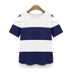 Thick Stripes Hollow Shoulder O-Neck Short Sleeve T-Shirt