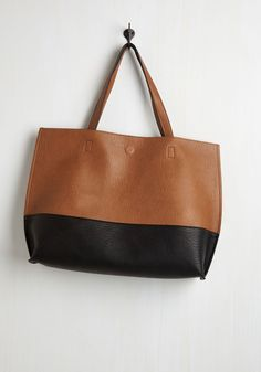 Colorblock and Stroll Bag in Cappuccino. With a bag as hip and handy as this brown and black tote, youre out the door in no time and ready to rock your day! #brown #modcloth