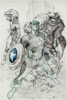 Captain America Annual cover pencils