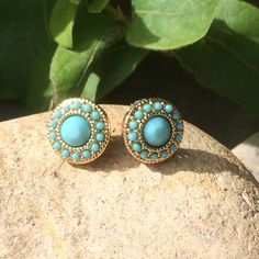Gold and Mint Green Studs Boho Earrings by SunflowerBlueDesigns