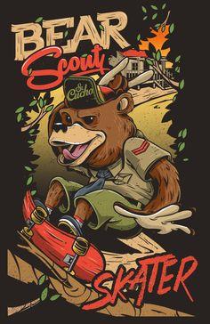 Bear Scout Skater by Sr. Cucho / Julio César Mendoza Aguayo https://www.behance.net/gallery/19293783/Bear-Scout-Skater #swissarmy #illustration