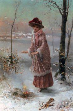 """Winter"" by Emile Eismann Semenowsky (1857-1911)"