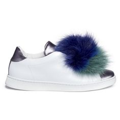 Joshua Sanders 'Pon Pon' leather slip-on sneakers ($440) ❤ liked on Polyvore featuring shoes, sneakers, slip-on sneakers, pom pom shoes, slip on shoes, metallic slip on shoes and pull on sneakers