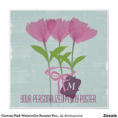 Custom Pink Watercolor Peonies Poster