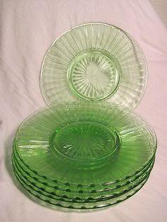 "Hazel Atlas Green Depression Glass 6 Ribbon Luncheon Salad Plates 8"" | eBay"