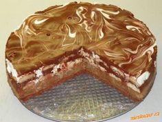 Nepečený mramorový tvarohový dort s jablečnou vrstvou vláčný a osvěžující