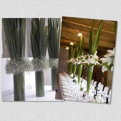Flax centrepiece ideas for my wedding reception. I like the simple flax & tall glass vase minus the other flowers. Centrepiece Ideas, Centrepieces, Table Decorations, Tall Glass Vases, Wedding Reception, Wedding Ideas, Harvest, Candles, Simple