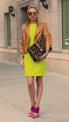 women's fashion neon colors street style look