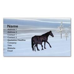 Horse and foal in snow business card