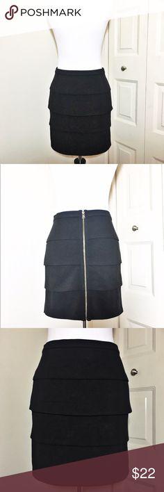 JACK by BB DAKOTA Black Scallop Mini w/ Zipper Tiered scallop black skirt with a gold zipper down the back. Made by Jack BB Dakota. Very little wear! Jack by BB Dakota Skirts Mini
