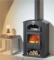 contemporary wood-burning stove with oven