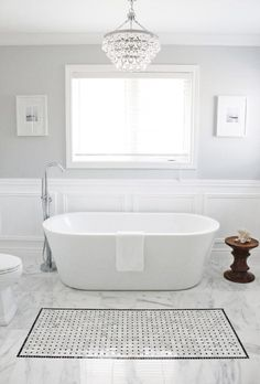 Entrancing Bathroom Paint Colors Valspar For Grey Wall Paint Colors Ideas And White Carrara Marble Tile Bathroom Flooring Also Ceiling Crystal Chandelier from Fancy Powder Room Contemporary Bathrooms, Bathroom Floor Tiles, Amazing Bathrooms, Light Grey Bathrooms, Best Bathroom Tiles, Painting Bathroom, Bathroom Paint Colors, Grey Bathroom Paint, Contemporary Bathroom