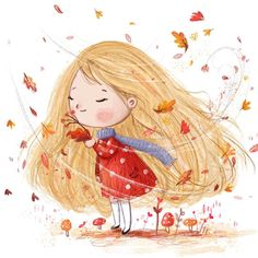 Rustling breeze and the smell of autumn leaves  #illustration #kidsbooks #character #blonde #autumn #autumnleaves #leaves #sweet #cute #kidlit #kidlitart #instaart #red #breeze #mushroom #digital #photoshop #painting