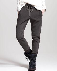 Brunello Cucinelli Long-Sleeve Layered Top, Cotton Drawstring Pants & Cashmere-Fur Knit Capelet - Neiman Marcus
