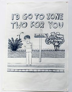 'I'd go zone two for you' - Able and Game - Tea Towel from A Quirk of Fate