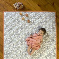 Argington Organic Fish & Pebbles Reversible Quilted Floor Mat/Crib Quilt