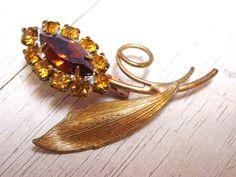 Vintage Amber Rhinestone Flower Brooch by SomeLittleStars, $8.00
