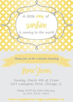 Sunshine Baby Shower Invitation Printable by GigglesandGraceDesig, $8.00