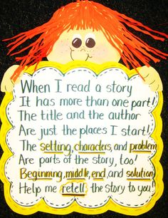 First Grade Wow: Anchor Chart - story elements and retelling - tons of really cute ideas to use here!!!