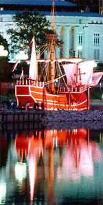 Yes, Columbus IS home to a pirate ship- The Santa Maria, thank you very much. Adults are $4.50, kids 5 and up are $3.50. Pirate weekend is in May. BE there. You'll thank me.