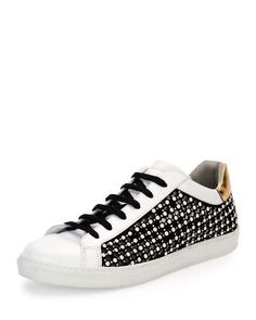 X3J27 Rene Caovilla Pearly Leather Low-Top Sneaker, White/Black