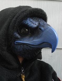 BIRD MASK Cast urethane bird mask. Hand painted and wearable. The eyes can be seen through.