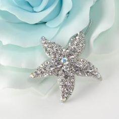 Beautiful Silver Rhinestone Starfish Bridal Hair Clip - Destination Wedding