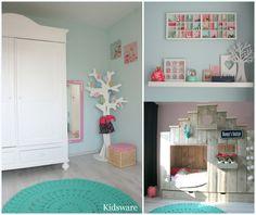 Meisjeskamer in pastelkleuren. Muren zijn lichtroze en mint geverfd.  #girlsroom