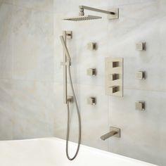 Onassis Thermostatic Tub & Shower System - 6 Body Sprays - Brushed Nickel