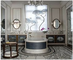 Art Nouevau inspired bath by Louis Henri/ like the basic layout-would do a different window treatment-different mirrors, different cabinet fronts-G.