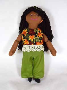 Black Doll in Fall Doll Clothes - African American Girl Doll - Handmade Toy Long Curly Black Hair, African American Dolls, Dress Up Dolls, Asian Doll, Cat Doll, New Dolls, Handmade Dolls, Collector Dolls, Gifts For Girls