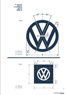 After posting the Vintage VW Poster Spec Sheet I can present a reasonably faithful recreation of the Vintage VW Logo Specification Sheet.