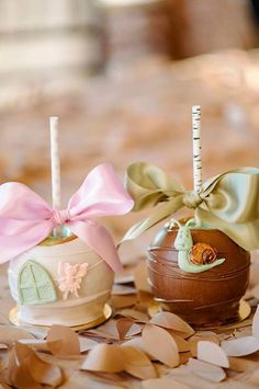 Candy apples from Enchanted Woodland Forest Birthday Party from Kara's Party Ideas. See more at karaspartyideas.com!