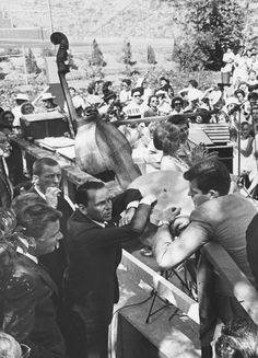 """Frank Sinatra talking with Edward M. Kennedy, lower left at """"Key Women for Kennedy"""" rally at Janet Leigh's house, Beverly Hills, Sept Photo: Ralph Crane. Ted Kennedy, Jackie Kennedy, Patricia Kennedy, School Pictures, School Pics, Joey Bishop, Peter Lawford, Janet Leigh, The Voice"""