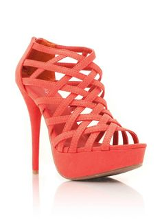 $25.30 Strappy Suede Heels   S: This colour is GORGEOUS, and the intricacies of the straps gives it some zest!