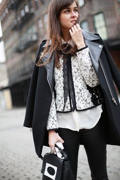 Street Style / Black on white on black / Andy Torres    See more on: Style Scrapbook: http://www.stylescrapbook.com/2013/02/black-on-white-on-black.html#