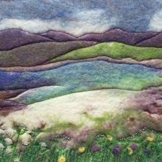 Greetings card printed from hand felted and embroidered merino wool artwork: Scourie Bay – Folt Bolt Shop Needle Felted Animals, Felt Animals, Needle Felting, Nuno Felting, Felting Tutorials, Wet Felting Projects, Felt Pictures, Felt Embroidery, Simple Embroidery