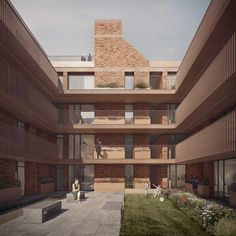 Architecture for London, Loggia Housing courtyard - Our proposed scheme provides 26 homes for private rental with office space at ground floor for start-up companies. Access decks to the internal courtyard allow all apartment front doors to be external, and planters next to each front door give each resident the opportunity to create a small front garden and personalise the exterior of their home. All flats also feature large balconies for outdoor dining. Render: Forbes Massie.