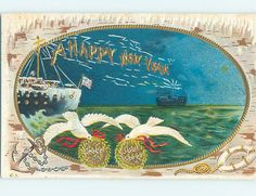 Wireless New Year greetings on a 1912 postcard.