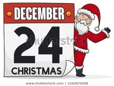 Happy Santa Claus saluting at you, behind a giant loose-leaf calendar for Christmas celebration in December Christmas Illustration, Holi, Celebration, Merry Christmas, Calendar, December, Presents, Santa, Happy